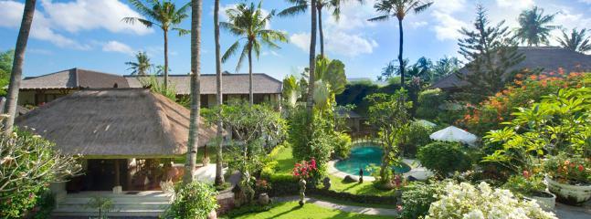 Taman Sorga -  main house living room with pool view