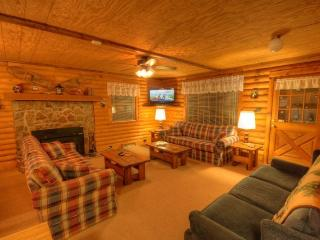 Spacious Living Room With Lots of Seating, Stone Fireplace and Flat Screen TV with DVD Player