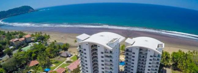 Aerial view of Diamante Del Sol and the beach