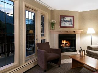 Snuggle up by the wood-burning fireplace.