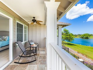 Gorgeous golf course and sunset views from the large wrap around lanais. A distance from the active play area of the course so Guests enjoy the beautiful view without having to worry about any stray golf balls coming near the property.