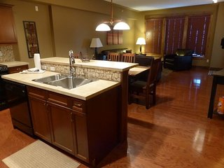 The open-plan condo is great for large groups